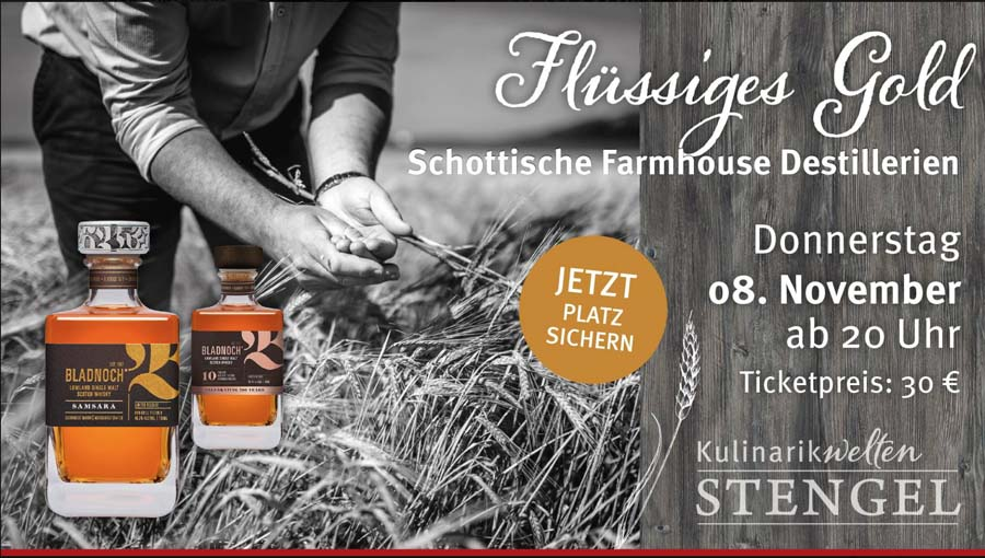 Schottisches Whisky-Tasting am 08. November im Edeka Center Stengel in Fürth/Nürnberg