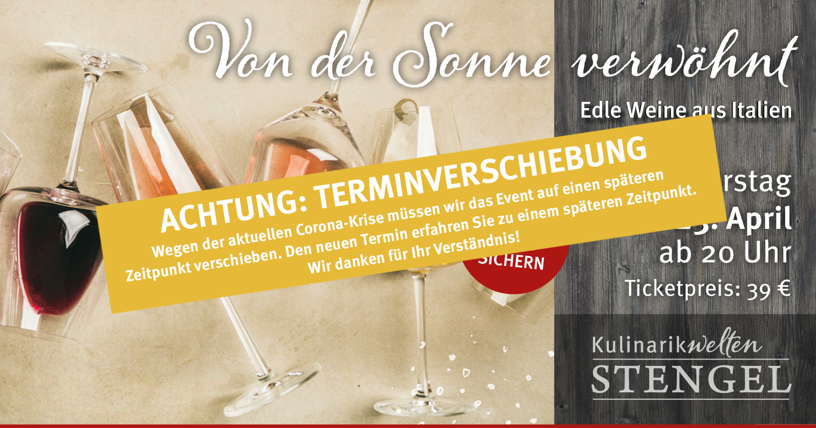 Weintasting am 23. April 2020 in den Kulinarikwelten E-Center Stengel