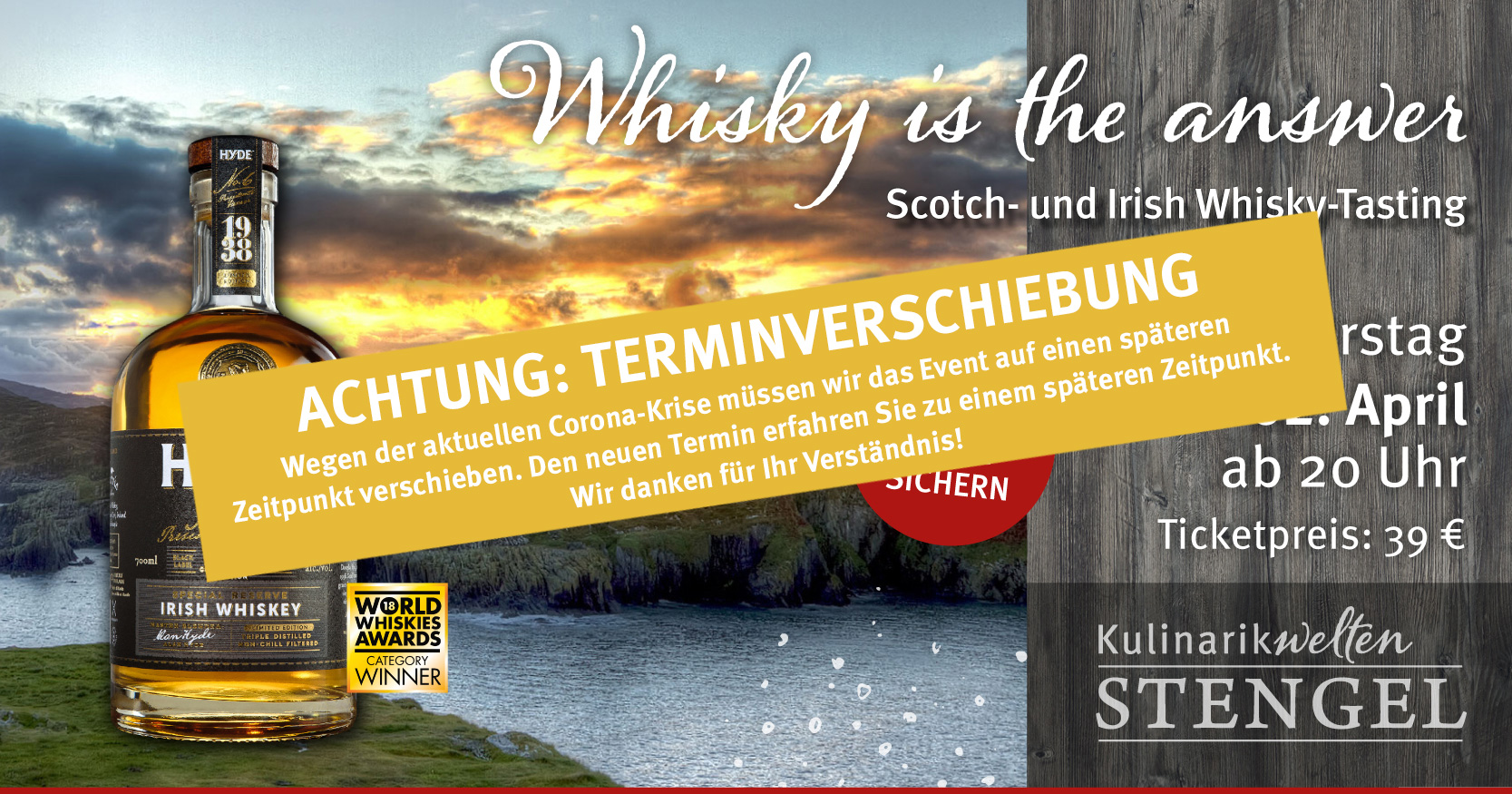 Whiskytasting am 2. April 2020 in den Kulinarikwelten E-Center Stengel