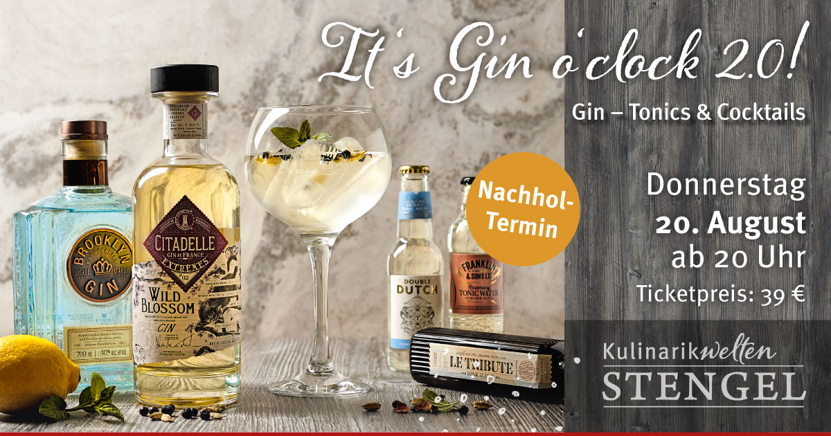 Nachholtermin Gintasting am 20. August 2020 in den Kulinarikwelten Stengel in Fürth